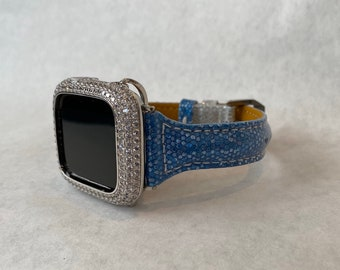 Apple Watch Band Leather Blue Silver Python Sparkle Slim Style Apple Watch Bezel Cover Iwatch Band Series 1,2,3,4,5