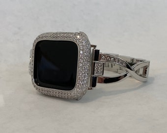Apple Watch Band Silver Crystal and or Lab Diamond Bezel Iwatch Bling 38mm 40mm 42mm 44mm Series 6 sb1