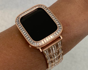 Bling Apple Watch Band & or Rose Gold Baguette Lab Diamond Bezel Cover Iwatch Series 6 SE sb1