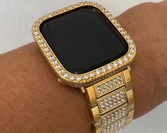 Apple Watch Band 44mm Yellow Gold and or Apple Watch Bezel Cover Iced Out Iwatch Band 38mm 40mm 42mm Series 6 SE gb1