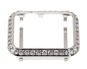 Silver Apple Watch Bezel Women Metal, 3mm Lab Diamond Cover Crystal, Iwatch Band Bling 38mm 40mm 42mm 44mm bzl
