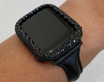Apple Watch Band Leather Slim Style Black and or Lab Diamond Bezel Cover Bling Series 6 blb1
