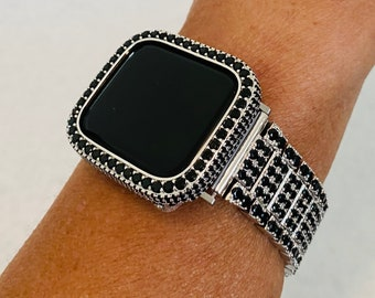 Fashion Luxury Apple Watch Band Silver & Black and or Lab Diamond Bezel Cover Iwatch Bling 38mm 40mm 42mm44mm Series 6 sb1