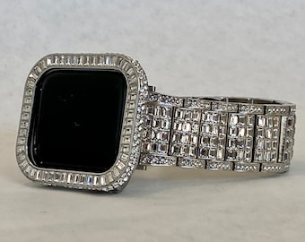 White Gold Apple Watch Band 38mm 40mm 42mm 44mm Silver Rolex Style & or CZ Diamond Bezel Cover Gift for Her Him Series 6 ipad iphone rpb1