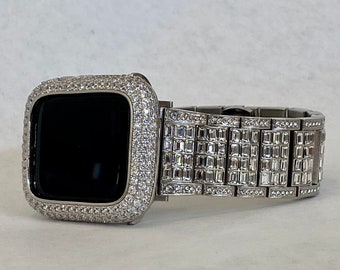White Gold Apple Watch Band 38mm 40mm 42mm 44mm Rolex Style & or Lab Diamond Bezel Cover Gift for Her Him Series 6 sb1