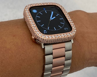 Two Tone Apple Watch Band Rose Gold with Silver Lab Diamond Iwatch Bling 38mm 40mm 42mm 44mm S6 rpb1