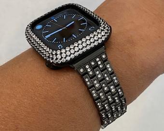 Apple Watch Band Black Apple Watch Bezel Lab Diamond Iwatch Bling 38mm 40mm 42mm 44mm Series 6 bd1