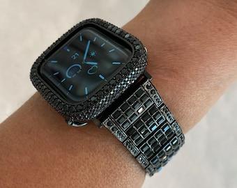Apple Watch Band Black 38mm 40mm 42mm 44mmSwarovski Crystal Baguettes  & or Lab Diamond Bezel Cover