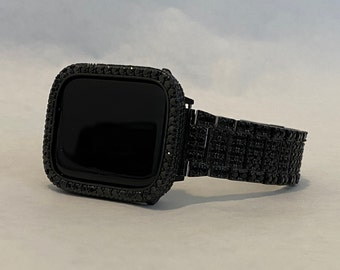 Black Apple Watch Band Iced Out and or Lab Diamonds Bezel Cover 38mm 40mm 42mm 44mm Series 6 SE blb1