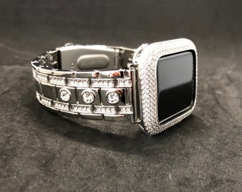 Luxury Silver Apple Watch Band Iced Out Apple Watch Bezel Cover Iwatch Band Bling bd3