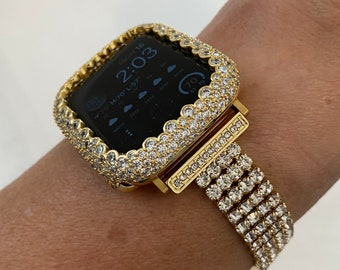 Gold Apple Watch Band Women 38 40 42 44mm Crystal and or Lab Diamond Bezel Cover Iwatch Bling Series 6 SE