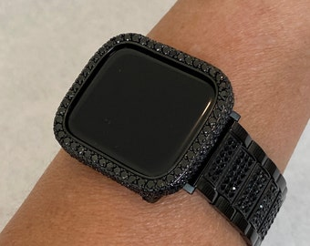 38 40 42 44mm Apple Watch Band & or Black on Black Lab Diamond Bezel Bumper Cover Ipad Iphone Case blb1