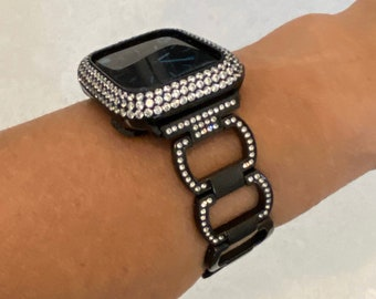 Series 6 Apple Watch Band Black and or Lab Diamond Bezel Cover 38mm 40mm 42mm 44mm Iwatch Bling blb1