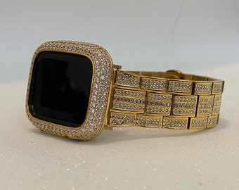 Gold Apple Watch Band 38mm 40mm 42mm 44mm Rolex Style and or Lab Diamond Bezel Cover Bling Series 6 gb1