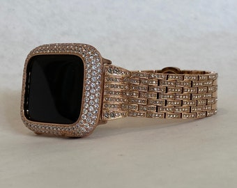 Rose Gold Apple Watch Band 38 40 42 44mm Crystal and or Rose Lab Diamond Bezel Bumper Series 6