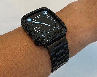 Black Apple Watch Band 44mm Rolex and or Apple Watch Cover Lab Diamond Bezel Iwatch Bling Series 6 blb1
