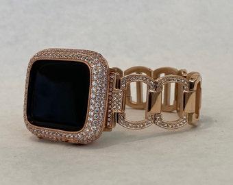 Apple Watch Band Womens 38mm 40mm 42mm 44mm Rose Gold Series 1,2,3,4,5,6,SE Lab Diamond Bezel Iwatch Bling RPB1