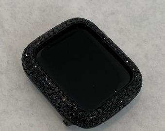 Black Apple Watch Cover-Micro Pave Bezel-Lab Diamond Case-CZ Iwatch Bling-38mm 40mm 42mm 44mm Series 1,2,3,4,5,6,SE bzl