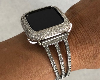 Apple Watch Bangle Band Silver Crystal Bracelet Apple Watch Cover Lab Diamond Bezel 38mm 40mm 42mm 44mm sb1