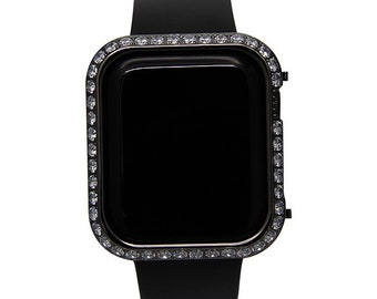 Iced Out Apple Watch Bezel Black Crystal Lab Diamond Cover Iwatch Bling Series 1,2,3,4,5