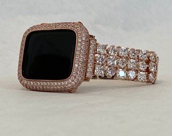 Apple Watch Band and or Rose gold Lab Diamond Apple Watch Bezel Cover Iphone Iwatch band bling 38 40 42 44mm Case Gift for Her RPB1
