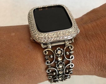 Silver Apple Watch Band 38mm 40mm 42mm 44mm Filigree Crystal Apple Watch Cover Lab Diamond Bezel sb1