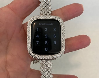 Apple Watch Band Silver and or Lab Diamond Bezel Iwatch Bling 38mm 40mm 42mm 44mm Series 6 sb1