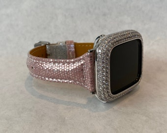 Pink Python Apple Watch Band Leather Sparkle Slim Style Apple Watch Cover Bezel Iwatch Band Series 1,2,3,4,5