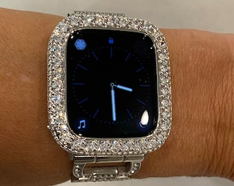 Bling Apple Watch Bezel Lab Diamond Cover Silver Iwatch Band Bling 3.5 bzl