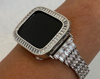 White Gold Apple Watch Band 40mm Woman Silver & or Lab Diamond Bezel Cover 38mm 42mm 44mm Iwatch Bling Custom Handmade