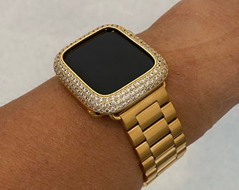 Apple Watch Band Mens Gold 38mm 40mm 42mm 44mm Rolex Style Lab Diamond Bezel Iwatch Bling Series 6 SE gb1