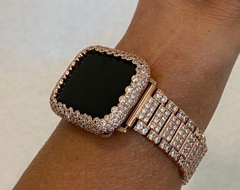 Bling Apple Watch Band Women 38mm 40mm 42mm 44mm and or Rose Gold Lab Diamond Bezel Cover Ipad Iphone Case Series 6 SE RPB1