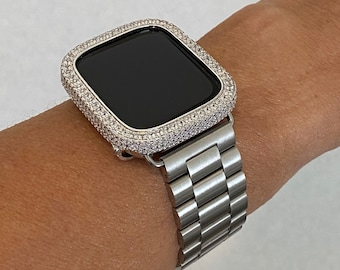 Luxury Apple Watch Band Silver 38mm 40mm 42mm 44mm Rolex Style and or Lab Diamond Bezel Iwatch Band Series 6 sb1
