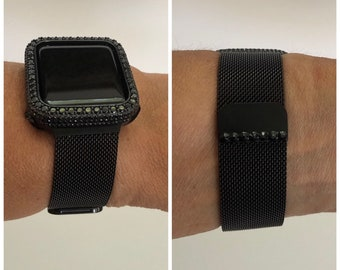 Apple Watch Band Black on Black Milanese and or Lab Diamond Bezel Cover Iwatch Bling Series 6 blb1