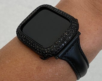 Black on Black Apple Watch Band Leather Slim Style and or Lab Diamond Bezel Cover Bling Series 6 blb1