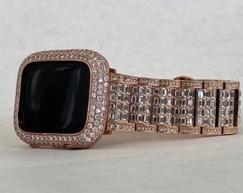 Rose Gold Apple Watch Band 38mm 40mm 42mm 44mm Rolex Style & or Lab Diamond Bezel Cover Gift for Her Him Series 6 rgb1