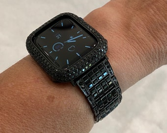 Black on Black Apple Watch Band 38 40 42 44mm Swarovski Crystal Baguettes & or Lab Diamond Bezel Cover
