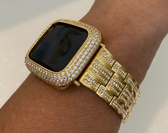 Designer Bling Apple Watch Band 38mm 40mm 42mm 44mm  & or Gold Lab Diamond Pave Bezel Cover Iwatch Ipad Iphone Case Series 6 SE gb1
