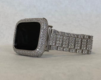 Iced Out Apple Watch Band Womens Silver and or Bezel Cover Lab Diamond Iwatch 38mm 40mm 42mm 44mm sb1