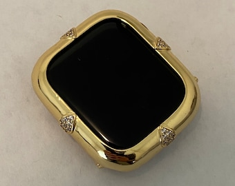 Gold Apple Watch Bezel Cover Lab Diamond Crystal Iwatch Bling Ipad Iphone Case 40mm 44mm Gift for Her Him bzl