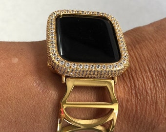Gold Apple Watch Band 38mm Women Crystal Lab Diamond Bezel Cover Gold Iwatch Band Bangle Series 1,2,3,4,5