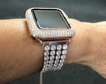 Rose Gold Apple Watch Band 38mm 40mm 42mm 44mm Women Bracelet Rhinestone Crystal/Apple Watch Bezel Lab Diamond Iwatch Band Bling