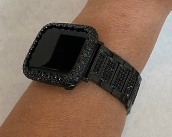 Custom Apple Watch Band Black on Black & or Pave Lab Diamond Bezel Bumper Cover Bling 38mm 40mm 42mm 44mm Series 6  blb1