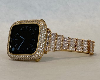 Bling Apple Watch Band Women 38 40 42 44mm Gold & or Pave Bezel Cover Lab Diamonds Iwatch Case Series 6 SE gb1
