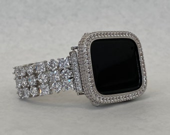 Silver Apple Watch Band 38mm 40mm 42mm 44mm and or Bezel Cover Lab Diamond Bling Series 6 SE sb1