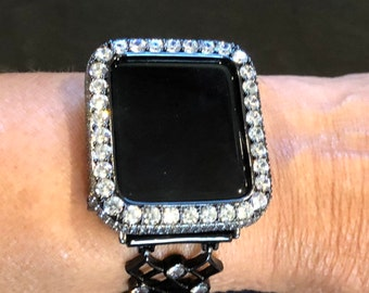 Bling Apple Watch Cover 38mm Bezel, 3mm Lab Diamond Bezel Cover, Black Apple Watch Case Series 1,2,3,4,5 b3.5