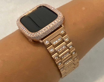 Luxury Apple Watch Band Crystal and or Lab Diamond Bezel Cover Rose Gold 38mm 40mm 42mm 44mm Series 6 rpb1