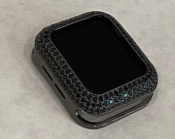 Black on Black Apple Watch Bezel Cover CZ Metal Case Pave Bling Rhinestones 38mm 40mm 42mm 44mm Series 6 SE bzl