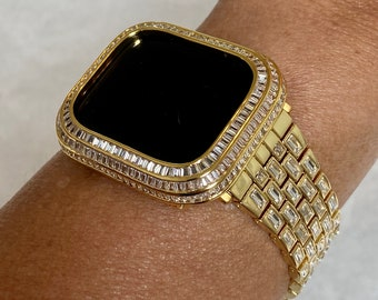Custom Gold Apple Watch Band with Baguettes & or Lab Diamond Baguette Bezel Cover 40mm 44mm Handmade