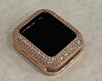 38 40 42 44mm Apple Watch Case Cover in Pave Style Bezel with Pave Rhinestones in Rose Gold